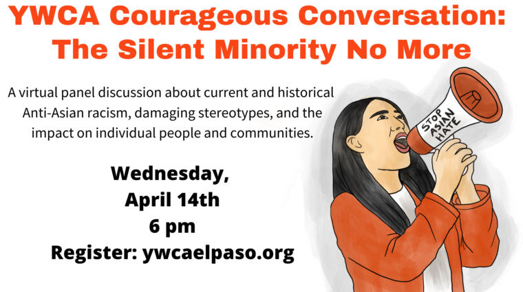 a graphic with an illustration of a young Asian woman in the bottom right corner. She is wearing an orange sweater, white t-shirt, and her hair is straight and black. She is looking up, her mouth is open as if she is speaking, and she is holding a megaphone that says