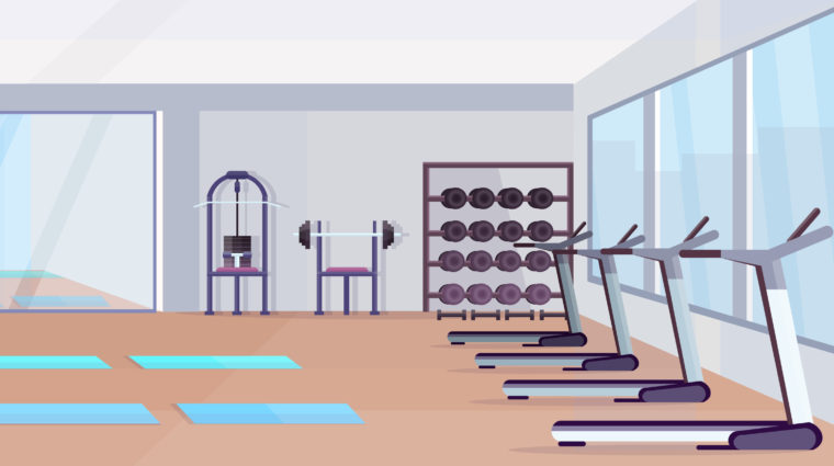 Fitness Hall Studio Workout Equipment Healthy Lifestyle Concept Empty No People Gym Interior With Mats Training Apparatus Dumbbells Mirror And Windows Horizontal