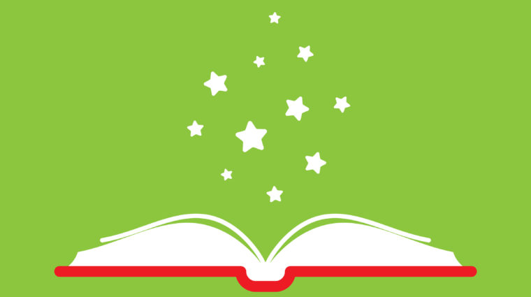 Open book with red book cover and white stars flying out. Isolated on green background. Flat icon. Vector illustration. Magic reading logo. Fairytale pictogram. Knowledge power sign.