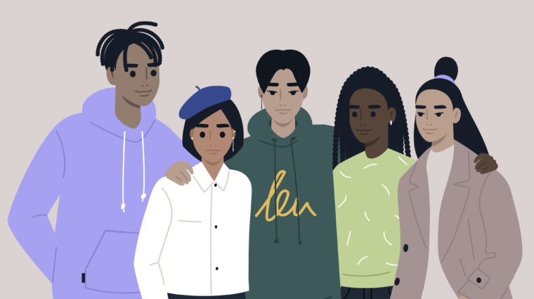 an illustration of five teens grouped together as friends. On the far left is a male presenting black person in a light purple sweatshirt. Next to them is a female presenting person with short black hair, light brown skin, in a long sleeve white button down shirt with a blue beret. Next, is an Asian male presenting person with short black hair and a green sweatshirt. They have their arm around the person in the white shirt and blue beret. Next is a black female presenting person with dark brown skin, long black braids in a light green top. Last is another female presenting teen with brown skin. Their hair is long and black with part of it sitting in a bun on top of their head. They are wearing a light beige t-shirt and dark tan overcoat.