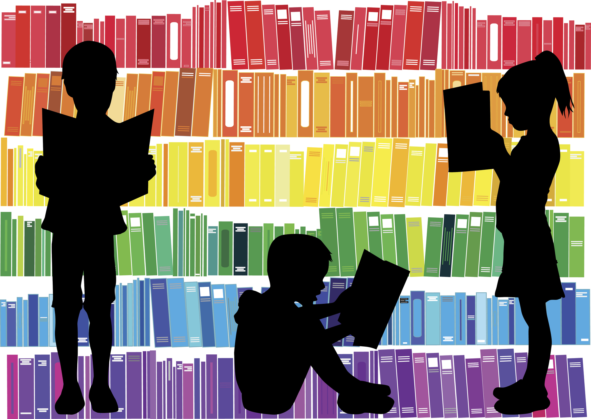 books arranged in rows monochromatically: red, orange, yellow, green, blue, purple, with silhouettes of three children reading books. two standing up and one sitting