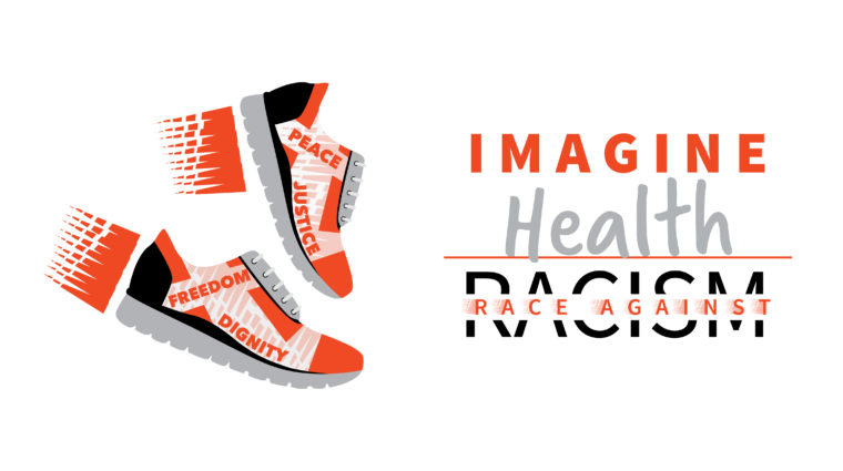 Graphic with two sneakers and words that say Imagine Health Race Against Racism