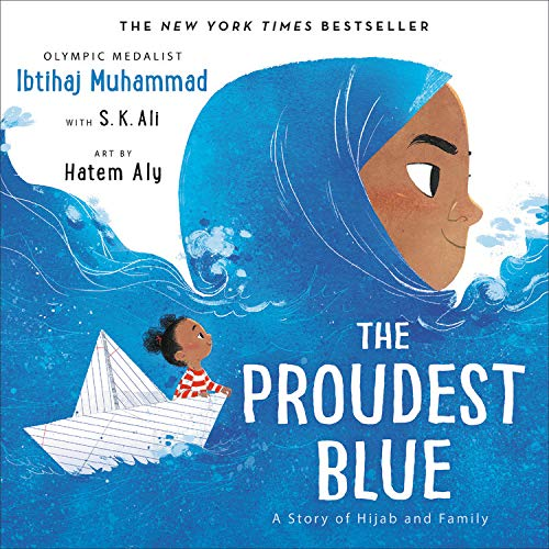 In the foreground of the book, a young girl with brown skin is wearing a brilliant blue hijab. The hijab becomes a sea of water with another young girl riding through the waves in a white boat
