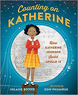 A young black woman in a yellow dress and red sweater stands on a stool in front of the moon which has illustrations of mathematical formulas on it