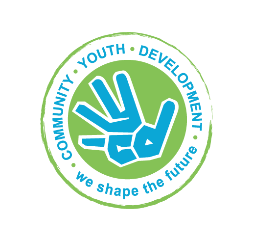 """Logo of Community Youth Development. A green outline encases a white circle with the words """"Community. Youth. Development. We shape the future."""" in blue writing. Inside the white circle, is a solid green circle with a blue hand."""