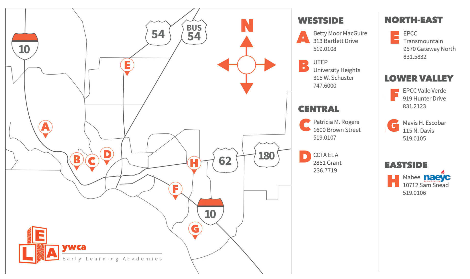 map of YWCA Early Learning Academy locations