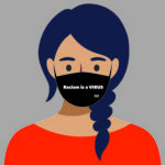 An illustration of a young girl with tan skin, blue-ish hair in a braid, and an orange top wearing a black face mask that says