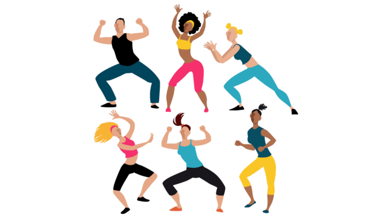 Cartoon illustrations of six people dancing. In the top left is a male presenting person with tan skin. They are wearing a black tank top, blue pants, and their arms are bent upwards and knees are bent indicating they are dancing. In the top middle is a female presenting person with brown skin. Their skin is black, curly, and styled as an afro. They are wearing a yellow headband, yellow crop top, and pink leggings. Their arms are also raised and one hip is jutted outwards as if they are dancing. In the top left is a female presenting person with light skin and blonde hair in two pigtails. They are wearing a dark blue crop top and light blue leggings. They are in a sideways lunge position with their hands in a clapping position. In the bottom left is another female presenting person with light skin and blonde hair. Their hair is long and flowing and is held back with a pink headband. They are wearing a pink crop top and black leggings. One of their feet is raised, one arm is extended and the other is raised above their head. In the bottom middle is a tan-skinned female presenting person with brown hair in a ponytail. Their hair is flinging behind their head as if in motion. They are wearing a blue tank top and black leggings. Their legs are bent at the knees and both of their arms are raised by their head with elbows bent. In the bottom right is a female presenting person with brown skin. Their hair is in a ponytail on the top of their head. They are wearing a green tank top and yellow leggings. One leg is bent and their arms are bent near their waist as if in a salsa dance.