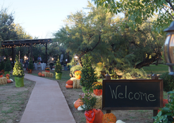 Photo with a chalkboard sign that says welcome in the bottom corner, a long walkway lined with lanterns, plants, and pumpkins, and a covered ramada in the background