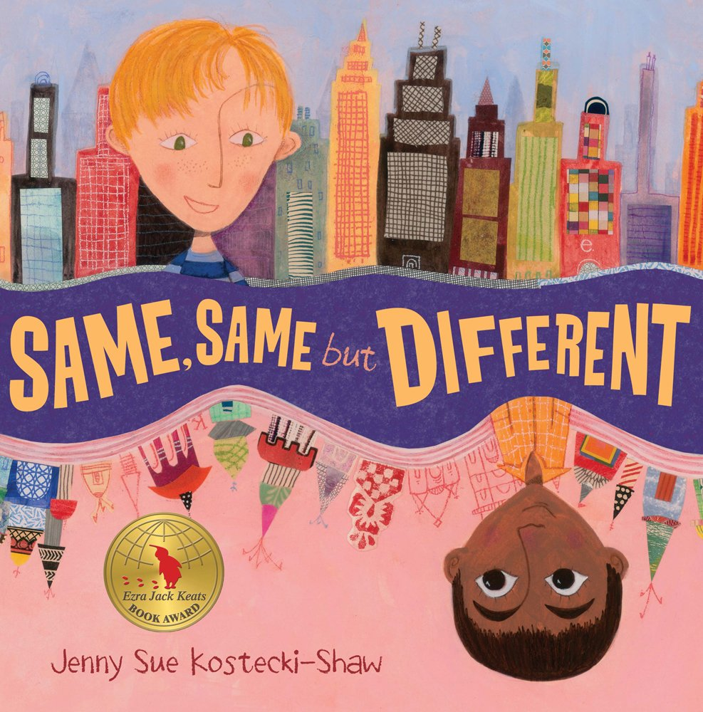 On the top half of this illustration is a blonde boy with skyscrapers in the background. In the bottom half and upside down is a boy with black hair and brown skin with Asian-inspired architecture behind him. Between them is the book title: Same, Same But Different