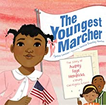 An illustration of a young black girl with black pigtails. She is wearing a white collared shirt with a pink cardigan sweater and holding an American flag. Behind her, a black man and woman watch her and text on a banner reads: The Youngest Marcher