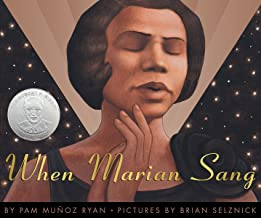 An illustration of a black woman with short brown hair. Her eyes are closed, her hands are gently folded together in front of her face, and her lips are partially open as if she is singing. Text reads: When Marian Sang
